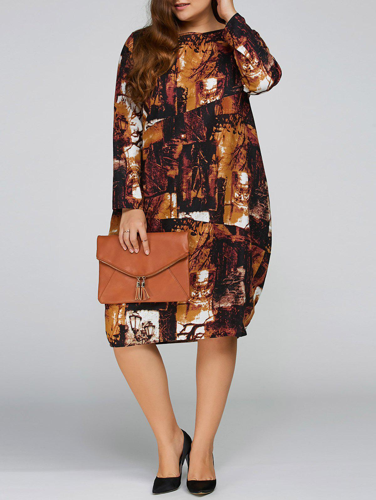 Plus Size Printed Cocoon Dress with Pocket цена
