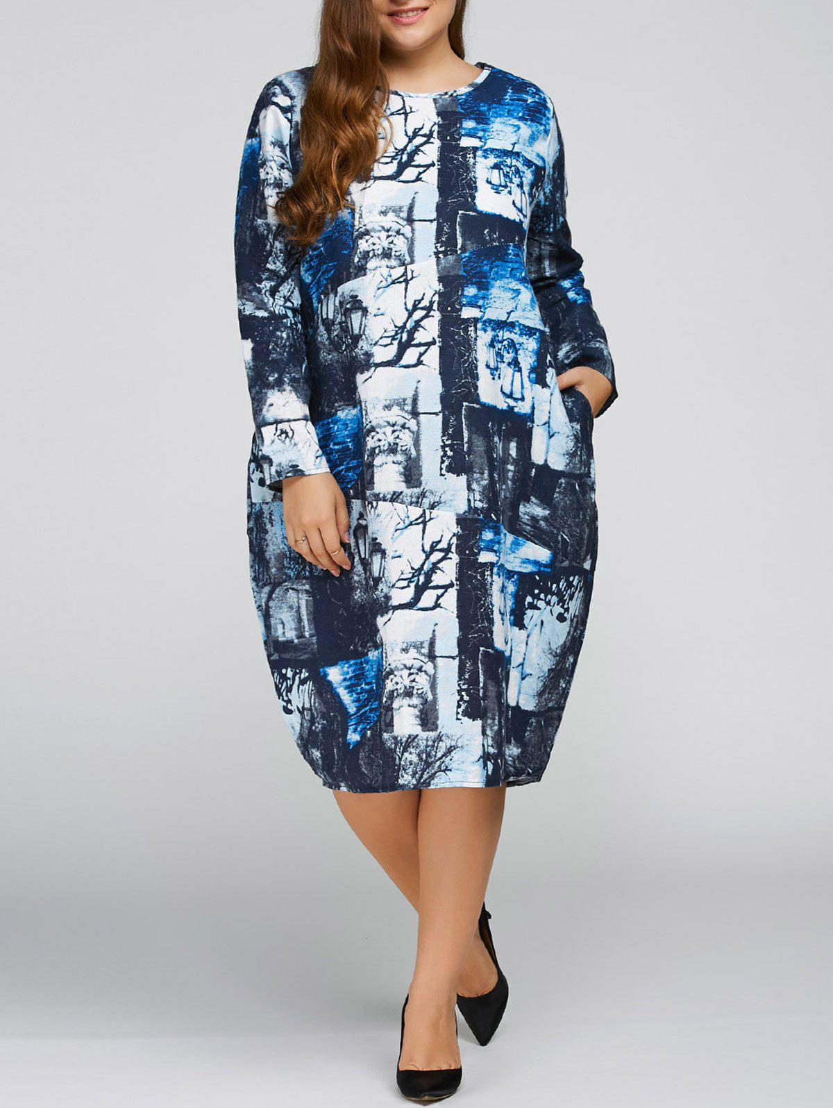 Plus Size Printed Cocoon Dress with Pocket long sleeve plus size cocoon dress