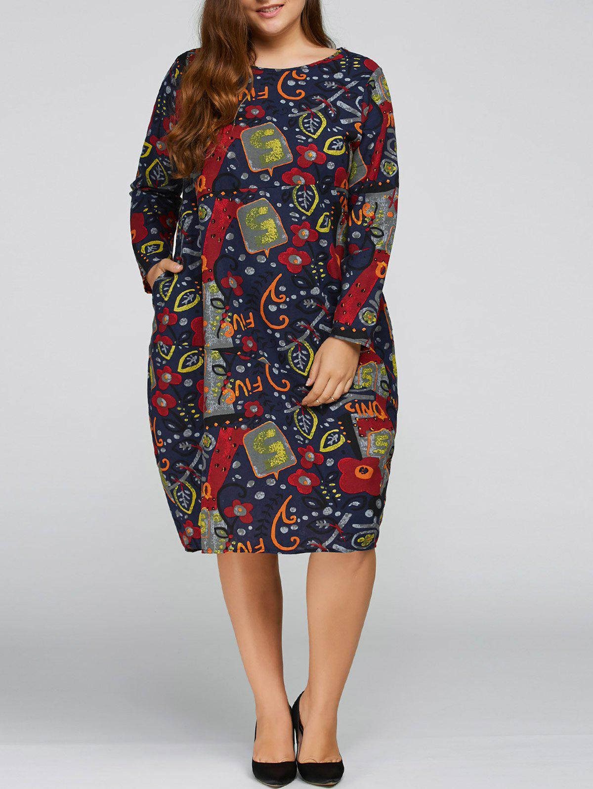 Plus Size Flower Cocoon Dress with Pocket - PURPLISH BLUE ONE SIZE