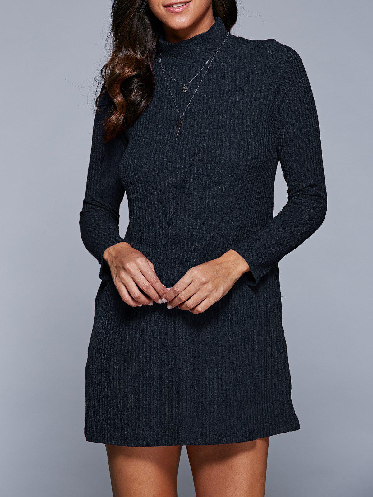 Long Sleeve Mini A Line Sweater Dress - PURPLISH BLUE S