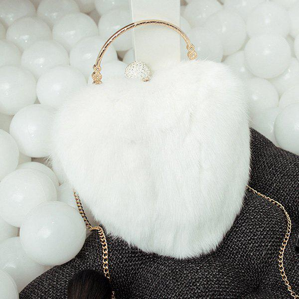 Heart Shape Metal Faux Fur Evening Bag - WHITE