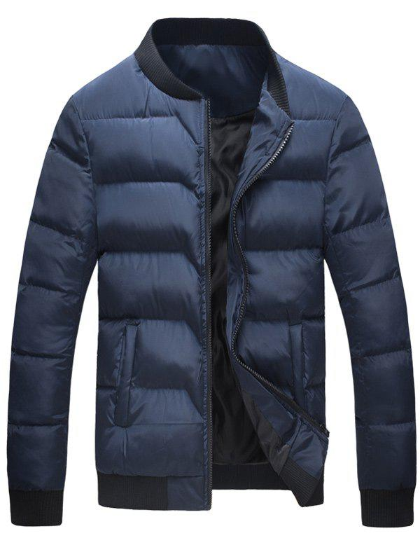Zip Up Stand Collar Rib Insert Padded JacketMen<br><br><br>Size: XL<br>Color: BLUE