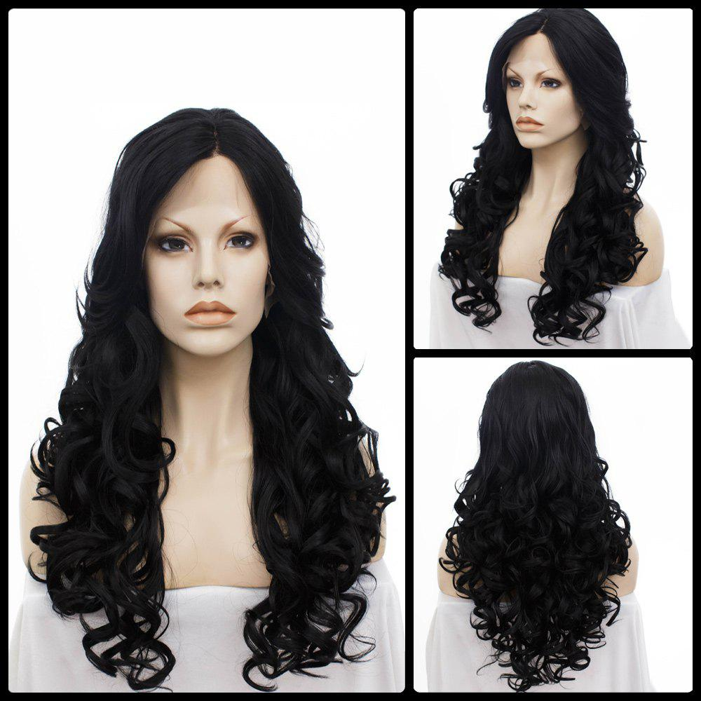 Long Wavy Centre Parting Lace Front Synthetic Wig centre speaker