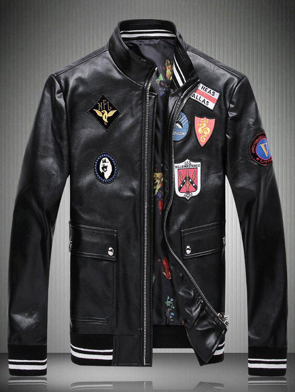Applique Embellished Stand Collar Faux Leather Jacket