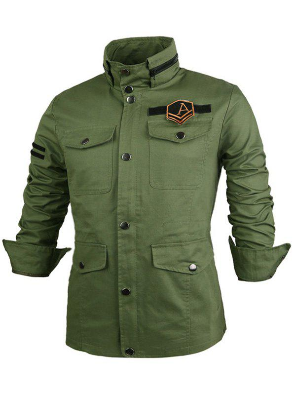 Buy Badge Embellished Single Breasted Stand Collar Jacket ARMY GREEN