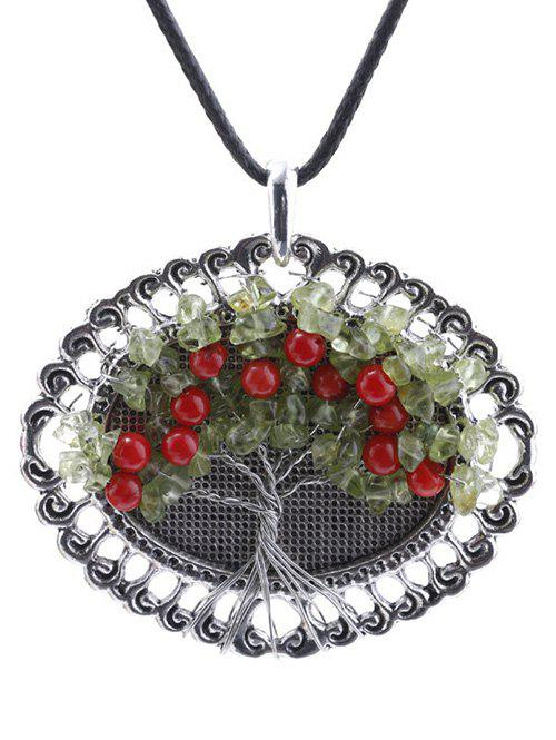 Handmade Beaded Life Tree Round Pendant NecklaceJewelry<br><br><br>Color: SILVER