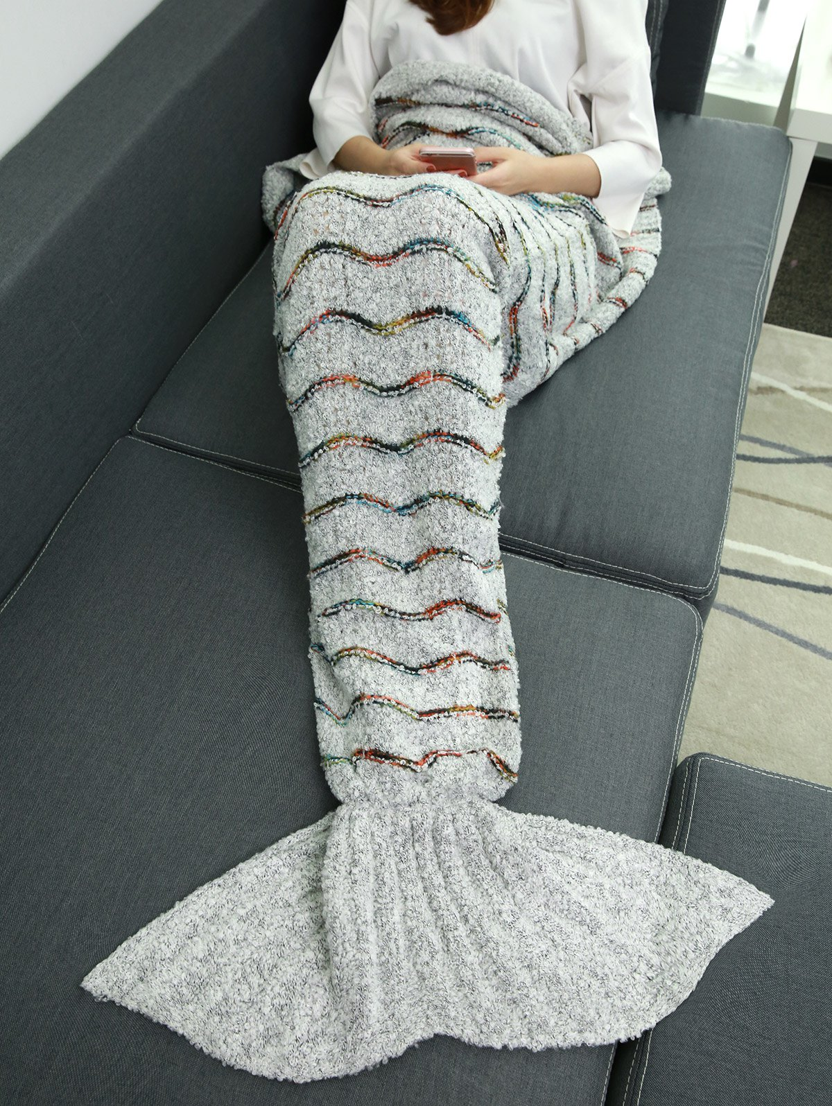 Soft Plush Stripe Sleeping Bag Wrap Mermaid Blanket