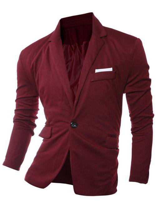 One Button Edging Lapel Long Sleeve Blazer - WINE RED L