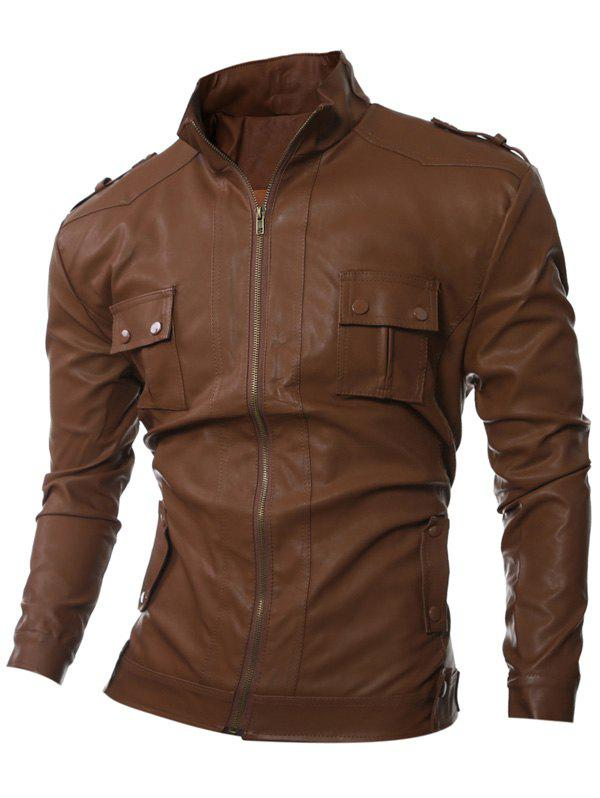 Stand Collar Pockets Design Epaulet Embellished PU-Leather Jacket - BROWN M