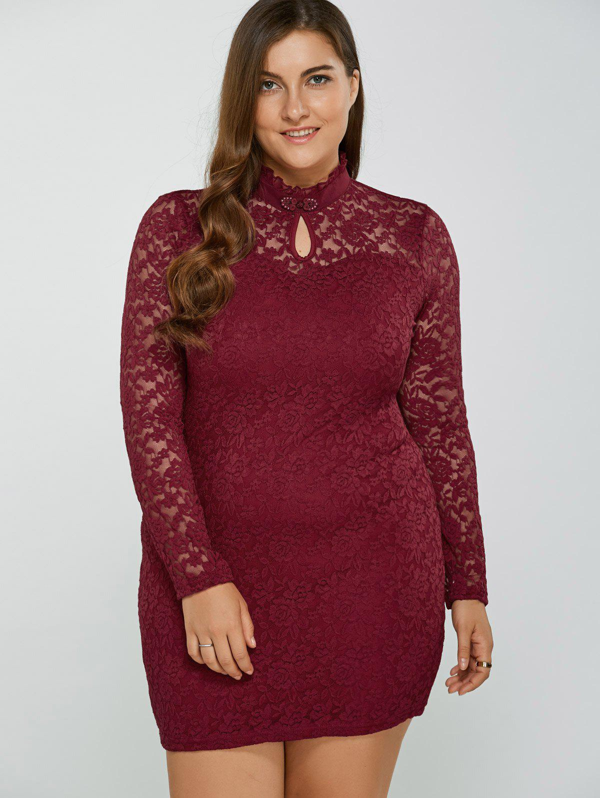 Plus Size High Neck Lace Dress - WINE RED 3XL