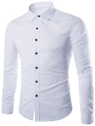 Plus Taille Slimming Col Rabattu Manches Longues - Blanc M