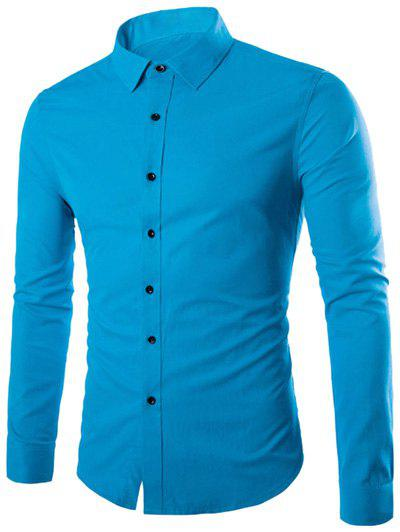 Plus Taille Slimming Col Rabattu Manches Longues - Bleu M