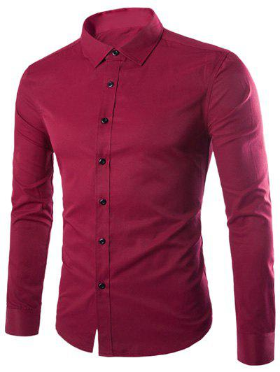 Plus Size Slimming Turn-Down Collar Long Sleeve Shirt - WINE RED M