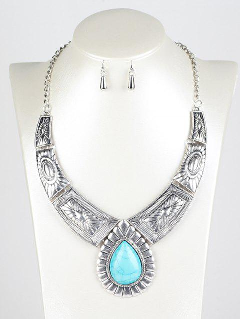 Faux Turquoise Water Drop Jewelry Set - SILVER