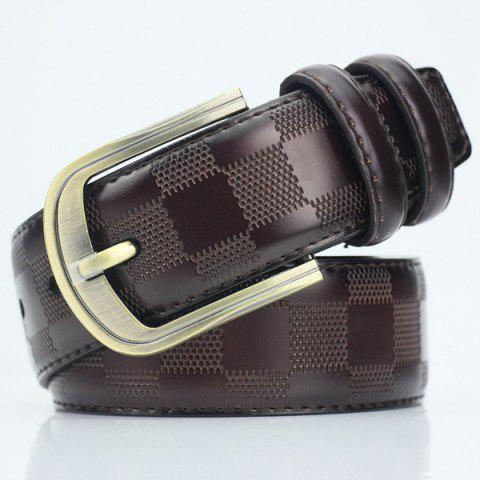 Boutique Pin Buckle PU Place Embossed Belt - Rouge marron