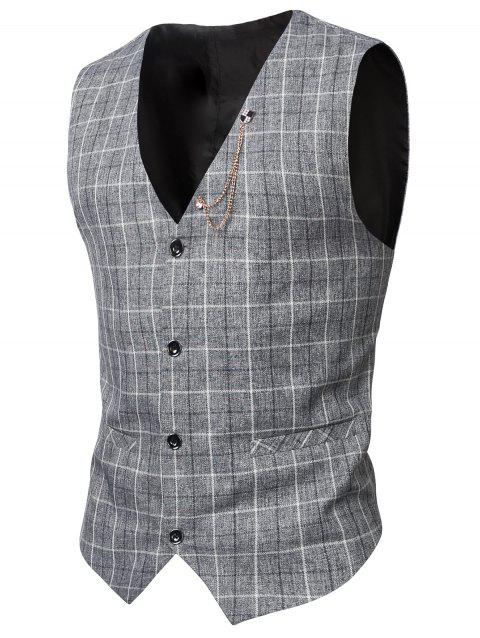 V-Neck Single-Breasted Checked Pattern Waistcoat - LIGHT GRAY 3XL