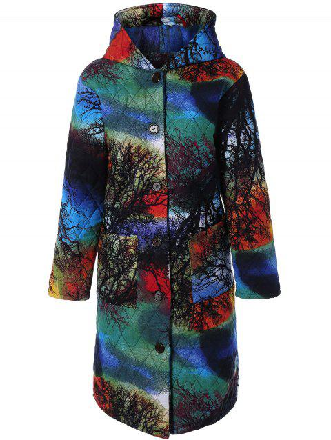 Hooded Tree Print Plus Size Coat - COLORMIX M