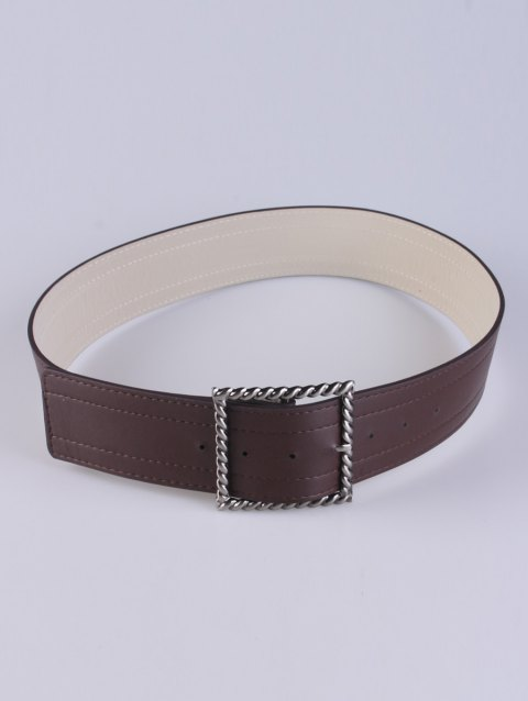 Coat Wear Hollow Twist Square Pin Buckle Belt - COFFEE