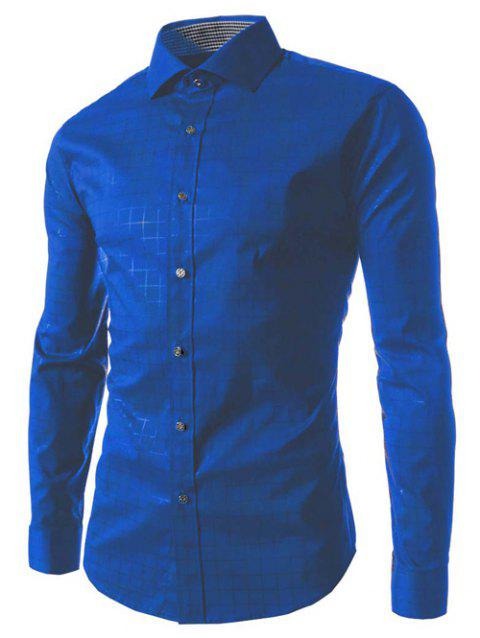 Long Sleeve Gingham Pattern Shirt - SAPPHIRE BLUE M