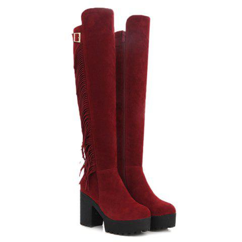 Fringe Buckle Chunky Heel Knee-High Boots - RED 38
