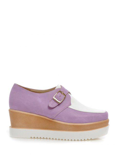Square Toe Color Splicing Buckle Wedge Shoes - WHITE/PURPLE 39