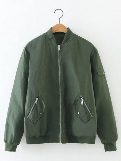 Zip Relaxed Up Bomber Jacket - Vert Armée S