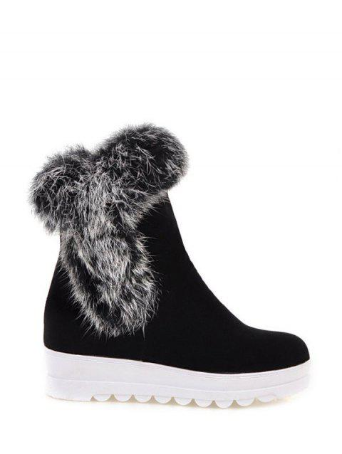 Platform Faux Fur Short Boots - BLACK 37