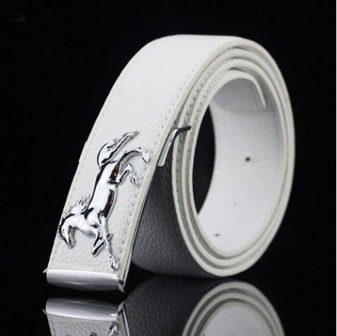 Casual Polished Horse Hidden Pin Buckle PU Belt - WHITE