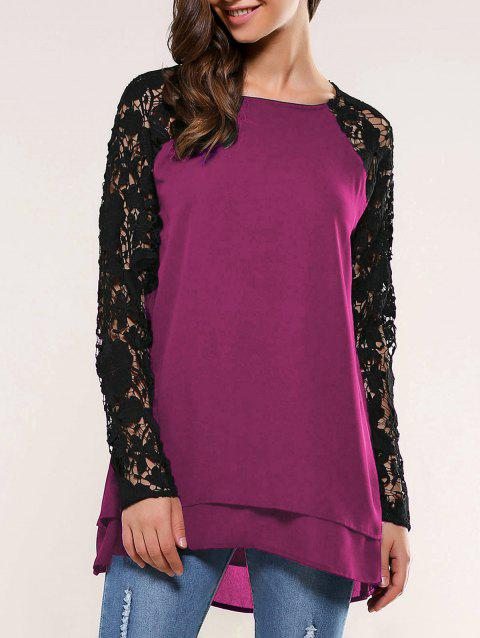 Lace Splicing Blouse - PLUM M