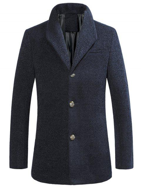 Single Breasted Textured Rough Wool Mix Coat - CADETBLUE XL
