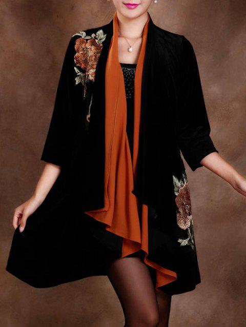 Asymétrique long brodé Cardigan - Douce Orange 3XL
