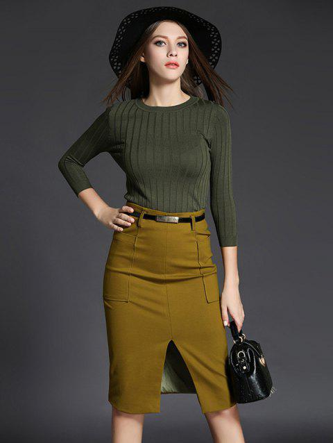 3/4 Sleeve Sweater Slit Pencil Skirt Two Piece Dress - GINGER S