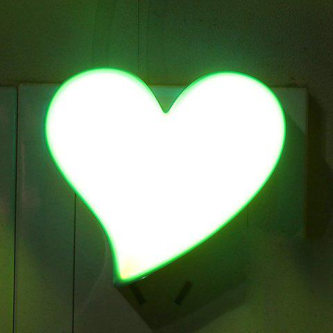 Romantic Heart Shape Socket Power Supply LED Night Light - BLUE/YELLOW