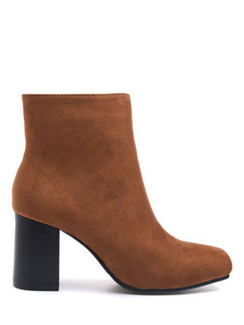 Chunky Heel Zipper Square Toe Ankle Boots - BROWN 38