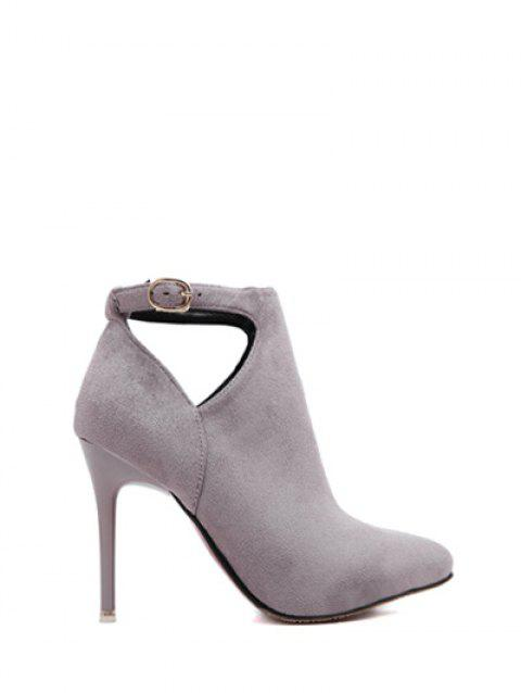 Flock Stiletto Heel Hollow Out Ankle Boots - LIGHT GRAY 37