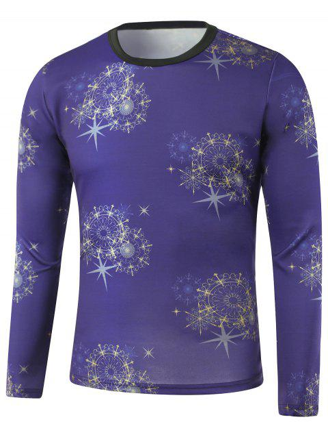 Star Print Crew Neck Long Sleeve Sweatshirt - BLUE M