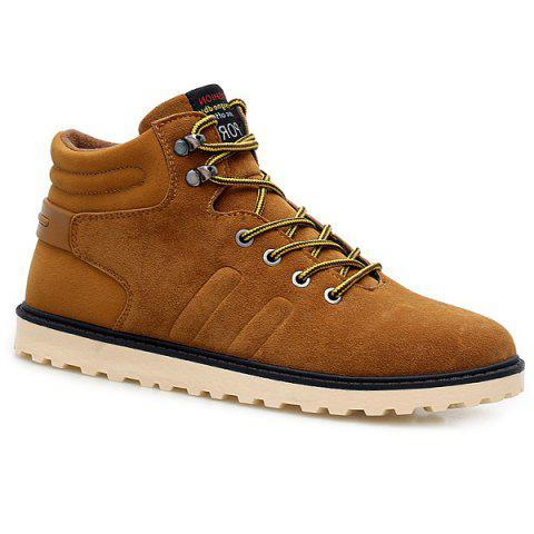 Suede Lace-Up Short Boots - BROWN 44
