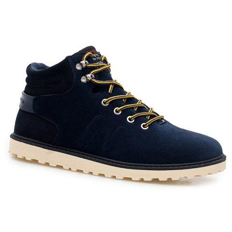 Suede Lace-Up Short Boots - BLUE 41