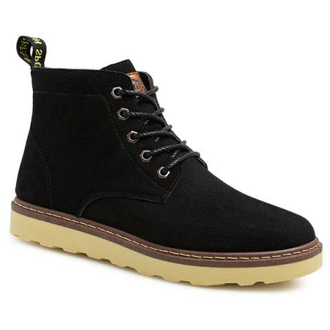Preppy Eyelet Suede Lace-Up Short Boots - BLACK 44
