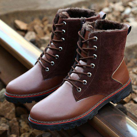 Vintage Lace-Up Suede Spliced Boots - BROWN 44