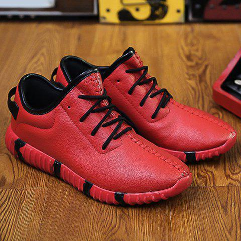 Stitching Textured PU Leather Lace-Up Athletic Shoes - RED 44