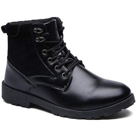 Lace-Up Splicing Dark Colour Boots - BLACK 41