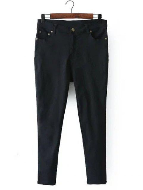 Zip Fly Pockets Jeans - BLACK L