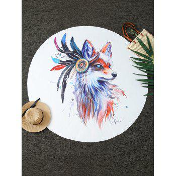 Comfy Creative Fox Print Round Throw Blanket - WHITE ONE SIZE(FIT SIZE XS TO M)
