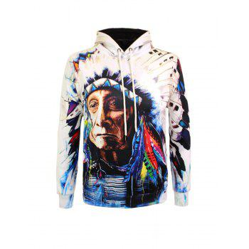 Drawstring Chief Printed Pullover Hoodie