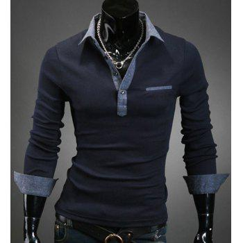 Buy Turn-Down Collar Denim Spliced Design Long Sleeve Men's Shirt