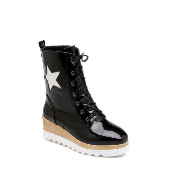 Platform Square Toe Star Pattern Short Boots