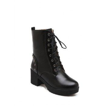 Platform Tie Up Rivets Short Boots