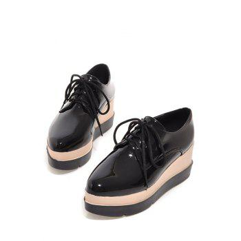Platform Tie Up Pointed Toe Wedege Shoes - BLACK 39