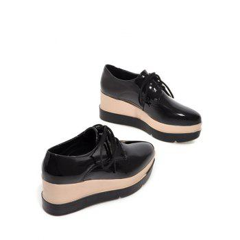 Platform Tie Up Pointed Toe Wedege Shoes - 38 38
